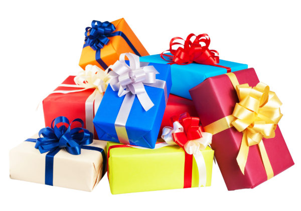 Piles of gift boxes wrapped in colorful paper, ribbon, and bow