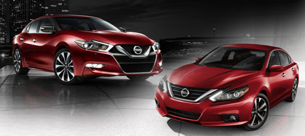 A red 2017 Nissan Maxima (left) and a red 2017 Nissan Altima (right).