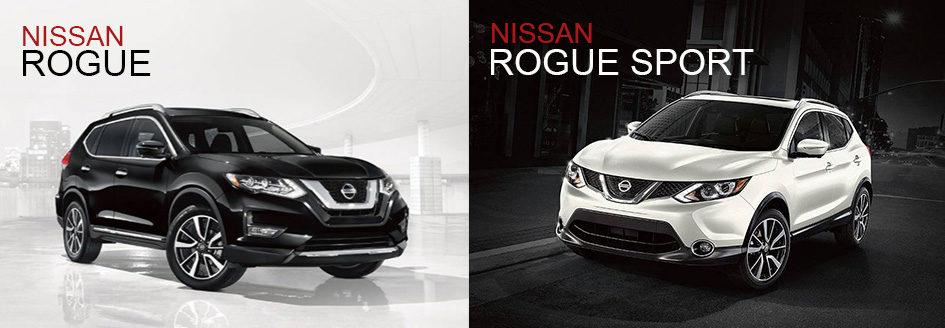 Left: 2018 Nissan Rogue. Right: 2018 Nissan Rogue Sport.