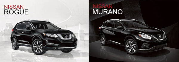 The 2018 Nissan Rogue next to the 2018 Nissan Murano