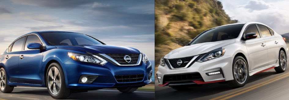2018 Nissan Altima (left) and 2018 Nissan Sentra (right).