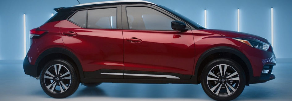 Profile of a red 2018 Nissan Kicks